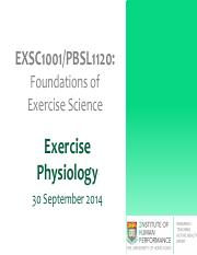 Lecture 5- Exercise Physiology