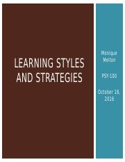learning styles and strategies psy100