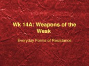 wk 14A everyday forms of resistance
