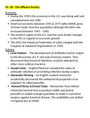 APUSH Ch. 28 Notes The Affluent Society