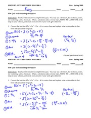 Quiz Solution on Graphing and Solving with Quadratics Using Completing the Square