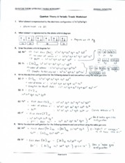 Quantum Theory & Periodic Trends Worksheet - Key - QUANTUM ...
