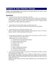 Chapter08 Docx Chapter 8 User Interface Design Chapter 8 User Interface Design Chapter 8 Explains How To Design An Effective User Interface And How To Course Hero