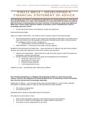 FIN111 WK13 – Developing a Financial Statement of Advice.docx