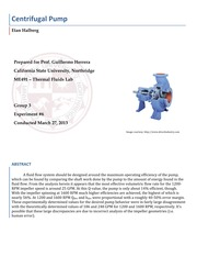 centrifugal pump lab report Cavitation effects in centrifugal pumps- a review maxime binamaa, alex muhirwaa,b, emmanuel bisengimanac a(power engineering and engineering thermophysics, harbin institute of technology, 150001 china.