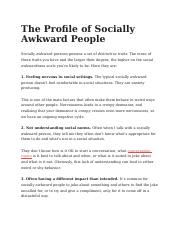 The Profile of Socially Awkward People