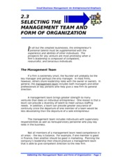 2.3 SELECTING THE MANAGEMENT TEAM AND FORM OF ORGANIZATION