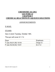 Chem 161-2011 Lecture 14, Chapter 9