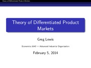 EC 1642 Spring 2014 Lecture 4 - Differentiated Products