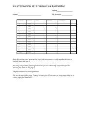 CS2110 Su2018 Practice Final pdf - CS 2110 Summer 2018