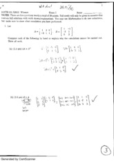 Linear algebra exam 1