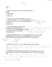 Macroeconomics 202 Quiz Keys for Quizzes 1-6