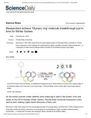 Researchers achieve 'Olympic ring' molecule breakthrough just in time for Winter Games -- ScienceDai