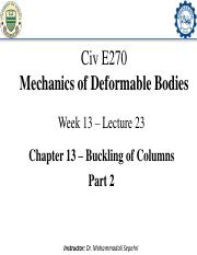 13-Civ E 270 - Lecture 23_Buckling of Columns_Part 2_Annotated-min.pdf