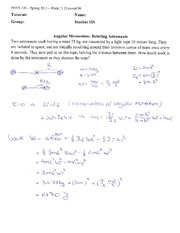 PHYS 120 Spring 2013 Tutorial 10 Solutions