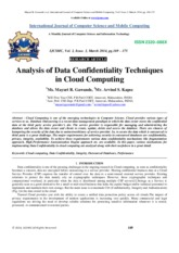 Analysis of Data Confidentiality Techniques