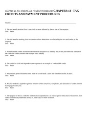 CHAPTER 13--TAX CREDITS AND