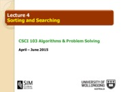 Topic 4 - Sorting and Searching
