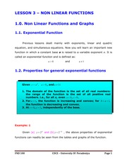 LESSON 3 - NON LINEAR FUNCTIONS