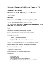 E8 - Review Sheet for Midterm Exam (5-6-08)
