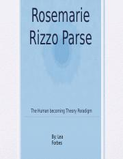 rosemarie rizzo parse nursing theory ppt