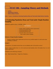 1.3 Estimating Population Mean and Total under Simple Random Sampling   STAT 506 - Sampling Theory