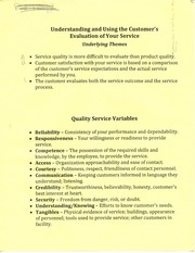 Understanding and using the customer's evaluationg of your service