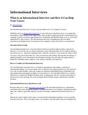 Informational Interviewing article