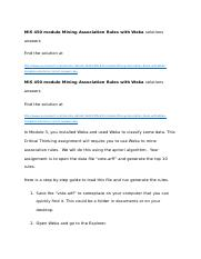 MIS 450 module Mining Association Rules with Weka solutions answers.docx