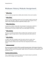 Malware History Module Assignment