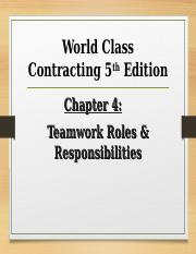 World Class Contracting Chapter 4
