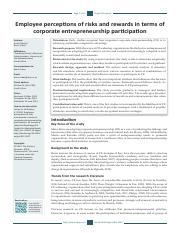 Employee perceptions of risks and rewards in terms of corporate entrepreneurship participation