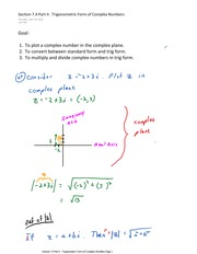 Section 7.4 Part II  Trigonometric Form of Complex Numbers