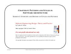 Chapter 4 - Styles and Patterns in Architecture - Session I