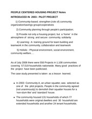 PEOPLE CENTERED HOUSING PROJECT Notes