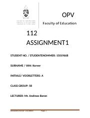 OPV 112 ASSIGNMENT 1