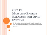 utf8''Week 3 Mass and Energy Balances for Open Systems