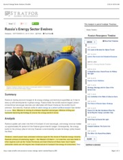Russia's Energy Sector Evolves | Stratfor