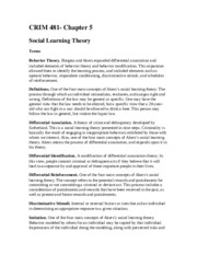 CRIM 481 Social Learning Theory