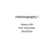 2010-09-14 -- Historiography I (1)