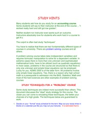 Study Hints- To be Successful in this Course