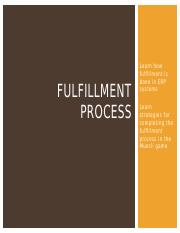 Class 07 LECTURE Fulfillment Process