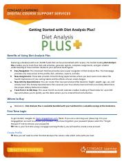 First Day Flyer - Getting Started with Diet Analysis Plus