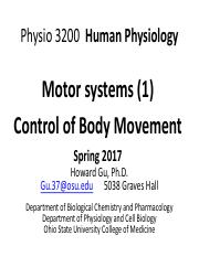 Lectures14 Physio 3200  Motor systems1 HG