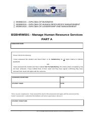 PART A Manage HR Services 1.docx