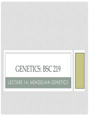 BSC 219 Lecture 14 inheritance and mendelian-2