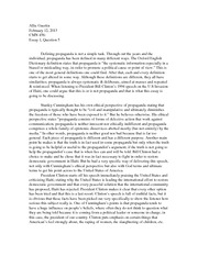 cmn propaganda and persuasion university of new 2 pages cmn 456 essay on propaganda