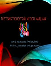 The Teams Thoughts on Medical Marijuana tiffany and nuewana