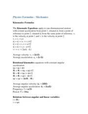 mechanics formulas notes
