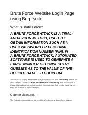 lab 13 Brute Force Website Login Page using Burp suite docx - Brute